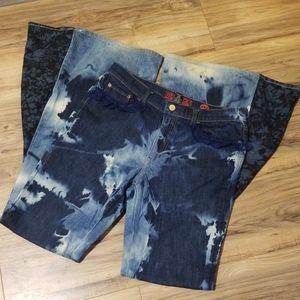 Blue Wild Flower Gypsy Bell Bottom Jeans Boho